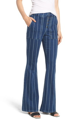 Tinsel Stripe High Waist Flare Jeans