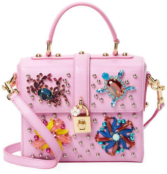 Dolce & Gabbana Dolce Box Bejeweled Leather Crossbody