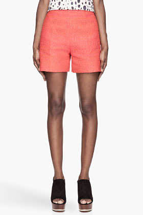 Carven Poppy red woven Rafia Tweed Shorts
