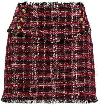 Pinko frayed tweed mini skirt