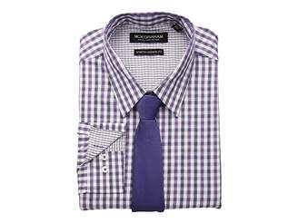 Nick Graham Dobby Plaid CVC Stretch Dress Shirt Tie Set