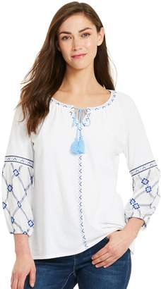 Izod Women's Embroidered Mixed-Media Peasant Top