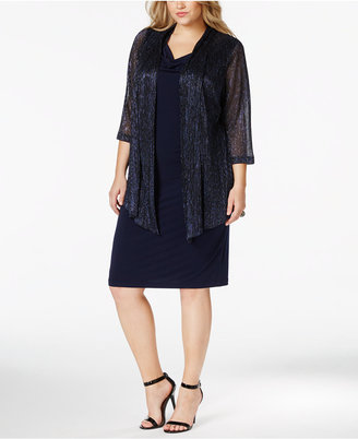 Connected Plus Size Metallic Layered-Look Dress $89 thestylecure.com