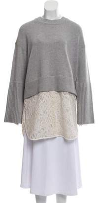 Schumacher Lace-Accented Virgin Wool & Cashmere-Blend Sweater w/ Tags grey Lace-Accented Virgin Wool & Cashmere-Blend Sweater w/ Tags