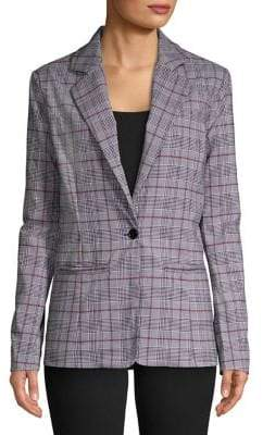 Design Lab Plaid Button Front Blazer