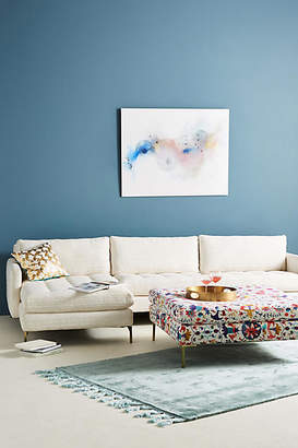 Anthropologie Textured Cotton Angelina Two-Piece Chaise Sectional