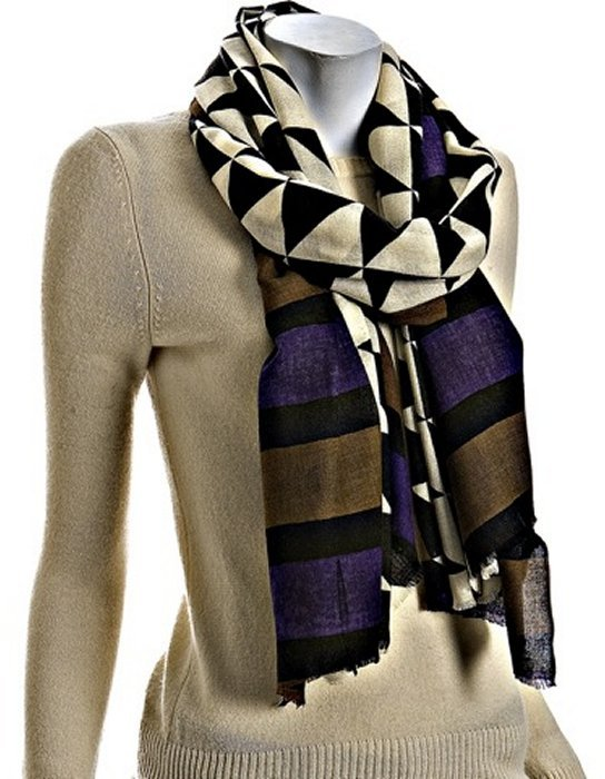 Kashmere brown and purple tribal print cashmere fringe scarf