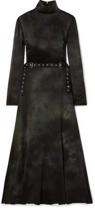 Marques Almeida Marques' Almeida - Tie-dyed Washed Silk Crepe De Chine Turtleneck Midi Dress - Black