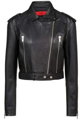 5aaa11967 Boss Cropped asymmetric biker jacket in grained calf leather S Black