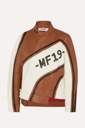 Monse Asymmetric Leather Biker Jacket - Brown