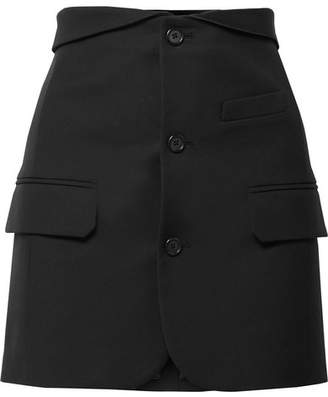Silk Satin-trimmed Canvas Mini Skirt - Black