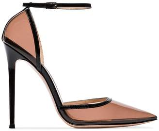 Gianvito Rossi black 110 PVC detail strappy pumps