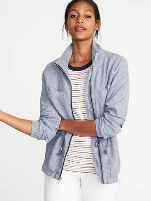 Old Navy Chambray Linen-Blend Field Jacket for Women