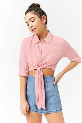 Forever 21 Tie-Front Pocket Shirt