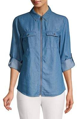 MICHAEL Michael Kors Roll-Tab Sleeve Zip-Up Shirt