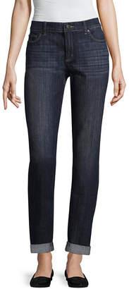 Liz Claiborne Boyfriend Skinny Fit Rollcuff Jean - Tall Inseam 33 Unrolled