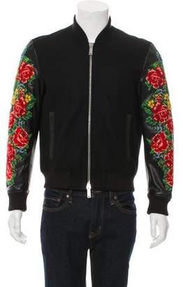 DSQUARED2 Floral Embroidered Varsity Jacket