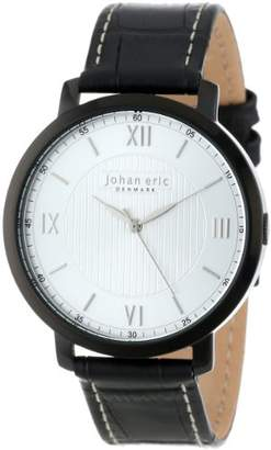 Johan Eric Men's JE1700-13-001 Koge Round Stainless Steel Black Genuine Leather Watch
