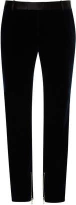 Balmain Zip-Detailed Slim-Fit Velvet Pants