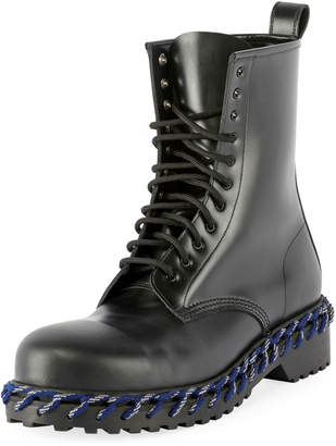 Balenciaga Men's Combat Boot with Woven Lace Detail