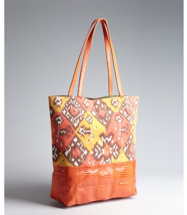 Beirn orange and brown canvas and snakeskin ikat printed 'Sherry' tote bag