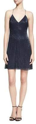 Alice + Olivia Suze V-Neck Sequined Mini Dress, Blue
