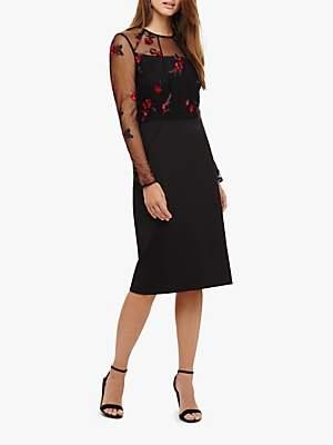 Felice Embroidered Dress, Black/Scarlet