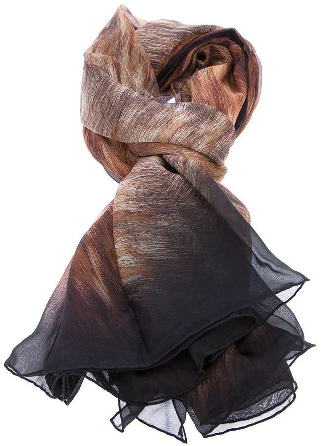 Lanvin fur print sheer scarf