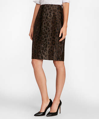 Brooks Brothers Leopard-Print Velvet Pencil Skirt
