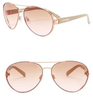Steve Madden 60mm Metal Aviator Sunglasses