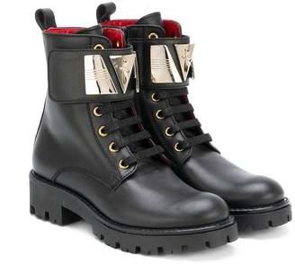 Cesare Paciotti Kids metallic plaque boots