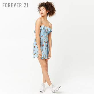 Forever 21 (フォーエバー 21) - Forever 21 フラワーフラウンスキャミワンピース