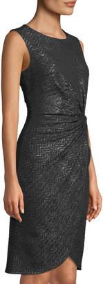 Donna Ricco Shimmer-Knit Knotted Sheath Dress