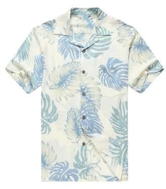 Hawaii Hangover Men's Hawaiian Shirt Aloha Shirt 3XL Palm Leaves in White