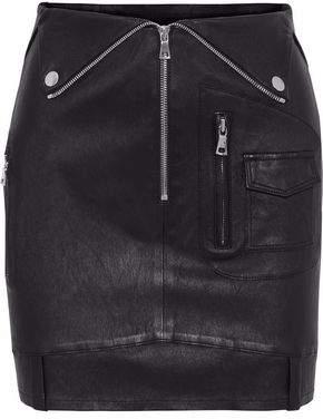 RtA Gisele Zip-Detailed Leather Mini Skirt