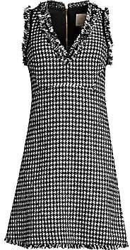 Kate Spade Women's Dashing Beauty Houndstooth Tweed Fray Hem Dress