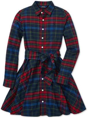 Polo Ralph Lauren Big Girls Plaid Flannel Cotton Shirtdress