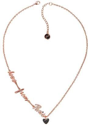 Karl Lagerfeld Paris Ikonik Crystal and Jet Hematite Crystal Love From Paris Pendant Necklace
