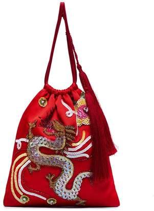 sequin embellished dragon bracelet bag