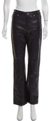 Ralph Lauren Black Label Mid-Rise Leather Pants