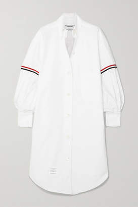 Thom Browne Grosgrain-trimmed Cotton Oxford Shirt Dress - White