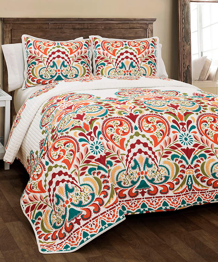 Tangerine & Turquoise Floral Clara Three-Piece Cotton Quilt Set