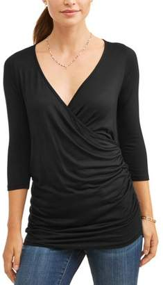 Planet Motherhood Maternity 3/4 Sleeve Nursing Friendly Solid Top
