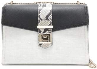 Jimmy Choo MARIANNE SHOULDER BAG Natural Mix Linen Grainy Calf Leather and Printed Ayers Shoulder Bag