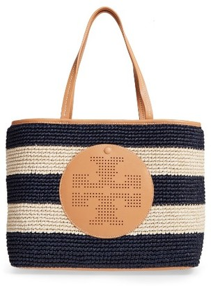 Tory Burch Logo Straw Tote - Beige $350 thestylecure.com