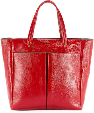 Anya Hindmarch Nevis Shiny Tall Tote Bag, Red
