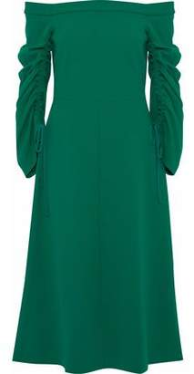 Tibi Off-The-Shoulder Ruched Crepe Midi Dress