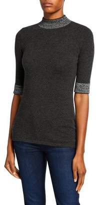 Neiman Marcus Mock-Neck Elbow-Sleeve Cashmere Sweater with Metallic Trim