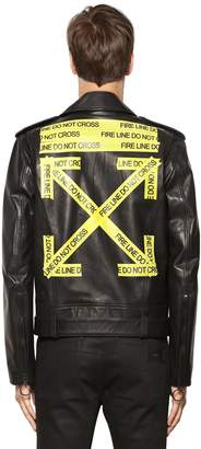 Off-White Fire Line Tape Leather Biker Jacket