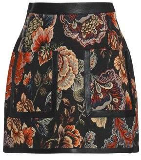 Stella McCartney Faux Leather-Trimmed Jacquard Mini Skirt